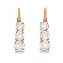 Three-Stone Leverback Diamond Earrings 14k Rose Gold (0.50ct)