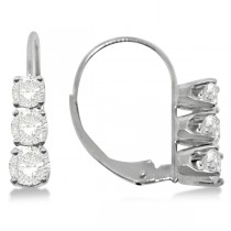 Three-Stone Leverback Diamond Earrings 14k White Gold (1.00ct)