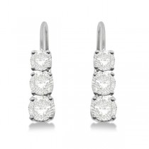 Three-Stone Leverback Diamond Earrings 14k White Gold (1.00ct)|escape