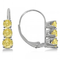 Three-Stone Leverback Yellow Diamond Earrings 14k White Gold (1.00ct)