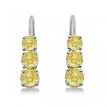 Three-Stone Leverback Yellow Diamond Earrings 14k White Gold (1.00ct)|escape
