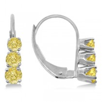 Three-Stone Leverback Yellow Diamond Earrings 14k White Gold (0.50ct)