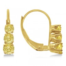 Three-Stone Leverback Yellow Diamond Earrings 14k Yellow Gold (0.50ct)