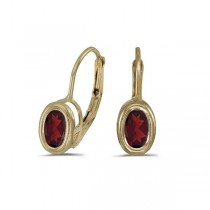 Bezel-Set Oval Garnet Lever-Back Earrings 14k Yellow Gold