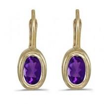 Bezel-Set Oval Amethyst Lever-Back Earrings 14k Yellow Gold