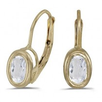 Bezel-Set Oval White Topaz Leverback Earrings 14k Yellow Gold (1.14ct)