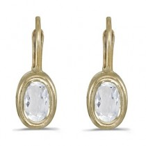 Bezel-Set Oval White Topaz Leverback Earrings 14k Yellow Gold (1.14ct)|escape