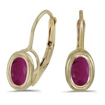 Bezel-Set Oval Ruby Lever-Back Earrings 14k Yellow Gold