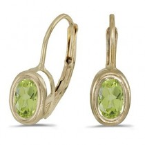 Bezel-Set Oval Peridot Lever-Back Earrings 14k Yellow Gold