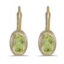 Bezel-Set Oval Peridot Lever-Back Earrings 14k Yellow Gold|escape