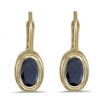 Bezel-Set Oval Blue Sapphire Lever-Back Earrings 14k Yellow Gold