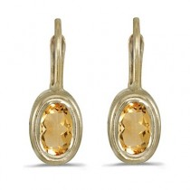 Bezel-Set Oval Citrine Lever-Back Earrings 14k Yellow Gold