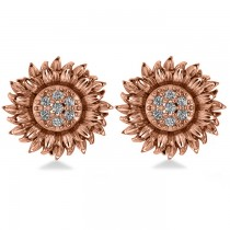 Diamond Sunflower Shaped Earrings 14k Rose Gold (0.14ct)|escape