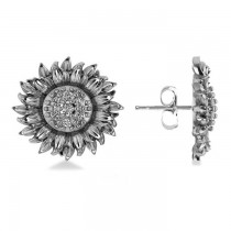 Diamond Sunflower Shaped Earrings 14k White Gold (0.14ct)