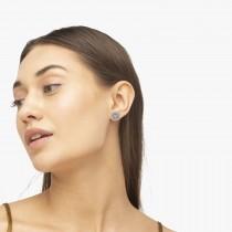Diamond Sunflower Shaped Earrings 14k White Gold (0.14ct)