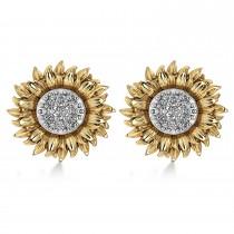 Diamond Sunflower Shaped Earrings 14k Two-Tone Gold (0.14ct)