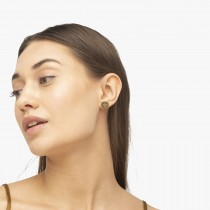 Diamond Sunflower Shaped Earrings 14k Yellow Gold (0.14ct)