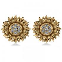 Diamond Sunflower Shaped Earrings 18k Yellow Gold (0.14ct)