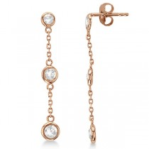 Diamond Drop Earrings Bezel-Set Dangles 14k Rose Gold (0.25ct)