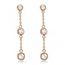 Diamond Drop Earrings Bezel-Set Dangles 14k Rose Gold (0.33ct)