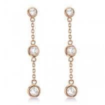 Diamond Drop Earrings Bezel-Set Dangles 14k Rose Gold (1.00ct)|escape