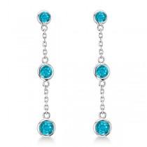 Blue Diamonds by The Yard Bezel Drop Earrings 14k White Gold (0.33ct)