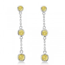 Fancy Yellow Diamond Station Drop Earrings 14k White Gold (0.25ct)
