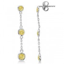Yellow Diamonds by The Yard Drop Earrings 14k White Gold (0.50ct)