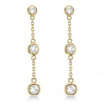 Diamond Drop Earrings Bezel-Set Dangles 14k Yellow Gold (0.33ct)