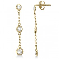 Diamond Drop Earrings Bezel-Set Dangles 14k Yellow Gold (1.00ct)