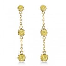 Fancy Yellow Diamond Station Drop Earrings 14k Yellow Gold (0.25ct)