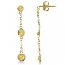 Fancy Yellow Diamond Station Drop Earrings 14k Yellow Gold (0.50ct)
