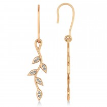 Diamond Olive Vine Leaf Drop Earrings 14k Rose Gold (0.20ct)