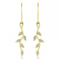 Diamond Olive Vine Leaf Drop Earrings 14k Yellow Gold (0.20ct)