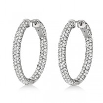 Pave-Set Inside-Outside Diamond Hoop Earrings 14k White Gold (2.75ct)|escape