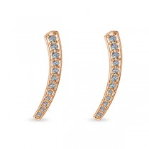 Curved Ear Cuffs with Graduating Diamonds 14K Rose Gold (0.22ct)
