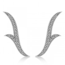 Flower Ear Cuffs Diamond Accented 14k White Gold (0.25ct)