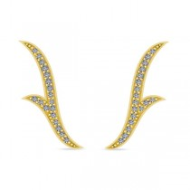 Flower Ear Cuffs Diamond Accented 14k Yellow Gold (0.25ct)