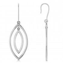 Double Marquise Dangling Earrings Plain Metal 14k White Gold