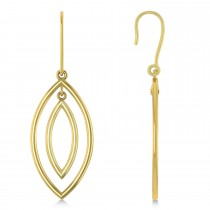Double Marquise Dangling Earrings Plain Metal 14k Yellow Gold
