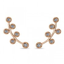 Circular Flower Ear Cuffs Diamond Accented 14k Yellow Gold (0.26ct)