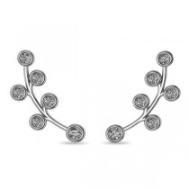 Circular Flower Ear Cuffs Diamond Accented 14k White Gold (0.26ct)