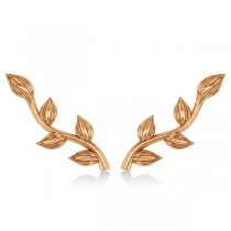 Flower Vines Ear Cuffs Plain Metal 14k Rose Gold