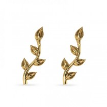 Flower Vines Ear Cuffs Plain Metal 14k Yellow Gold