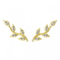 Vine Leaf Ear Cuffs Diamond Accented 14k Yellow Gold (0.20ct)