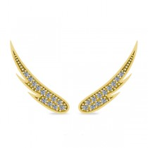 Angel Wings Ear Cuffs Diamond Accented 14K Yellow Gold (0.24ct)