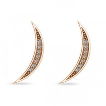 Crescent Moon Ear Cuffs Diamond Accented 14K Rose Gold (0.14ct)