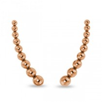 Graduating Beads Ear Cuffs Plain Metal 14k Pink Gold