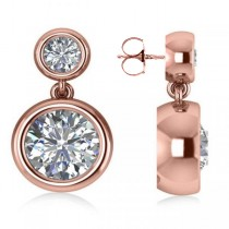 Double Round-Cut Bezel Diamond Drop Earrings 14k Rose Gold (4.50ct)