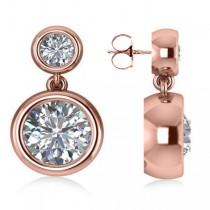 Double Round-Cut Bezel Diamond Drop Earrings 14k Rose Gold (4.50ct)